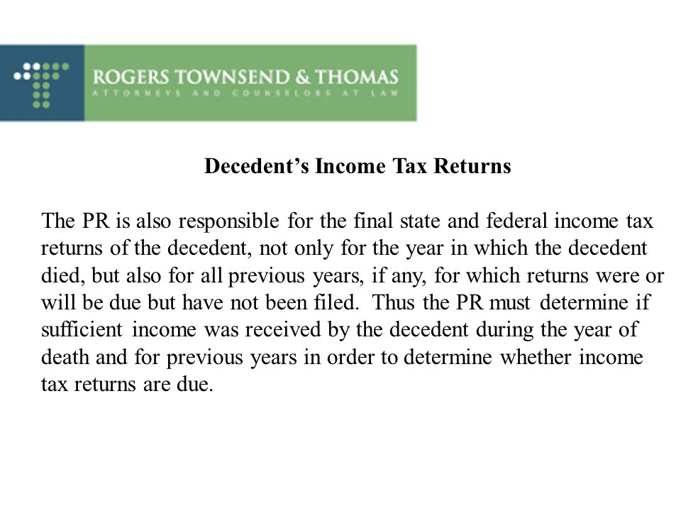 Decedent's Income Tax Returns