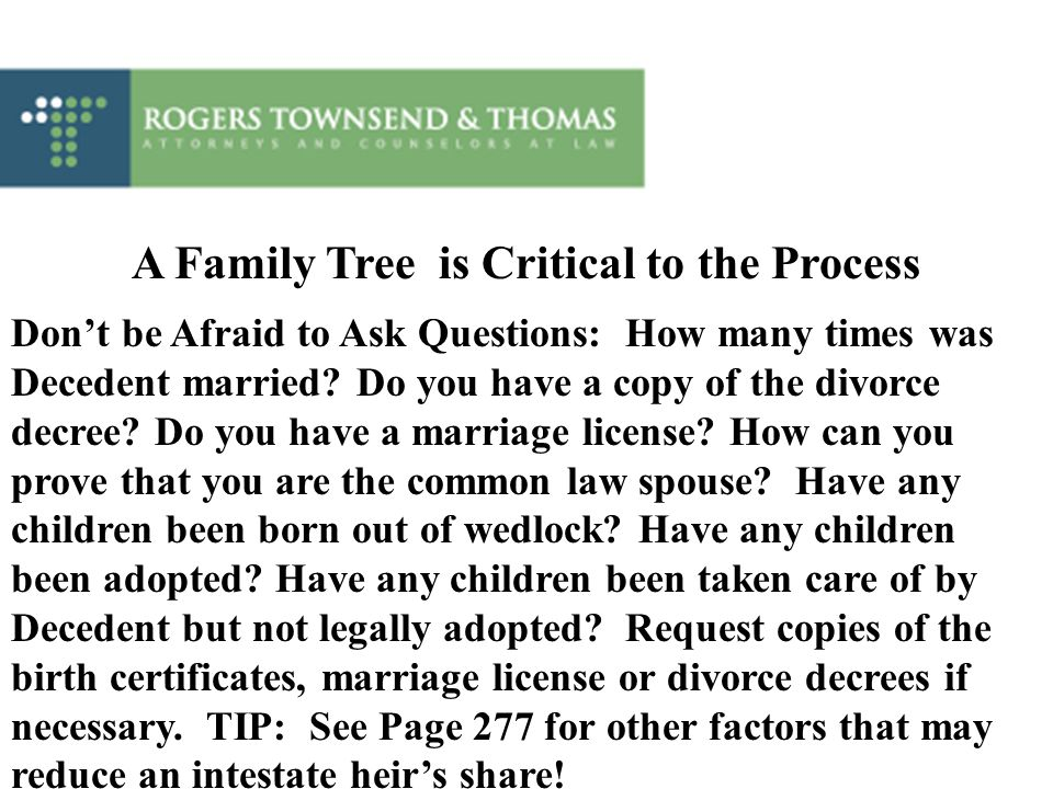 A Family Tree is Critical to the Process