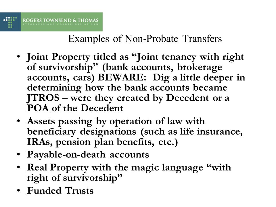Examples of Non-Probate Transfers