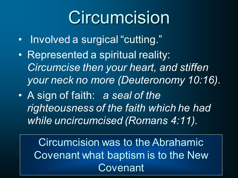 Circumcision Involved a surgical cutting.