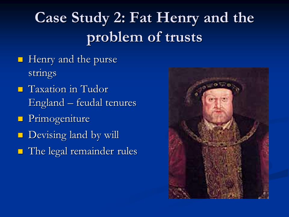 Case Study 2: Fat Henry and the problem of trusts