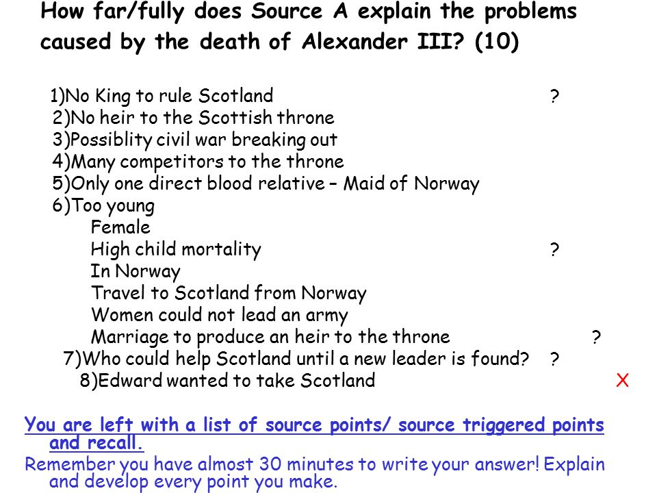 How far/fully does Source A explain the problems caused by the death of Alexander III (10)