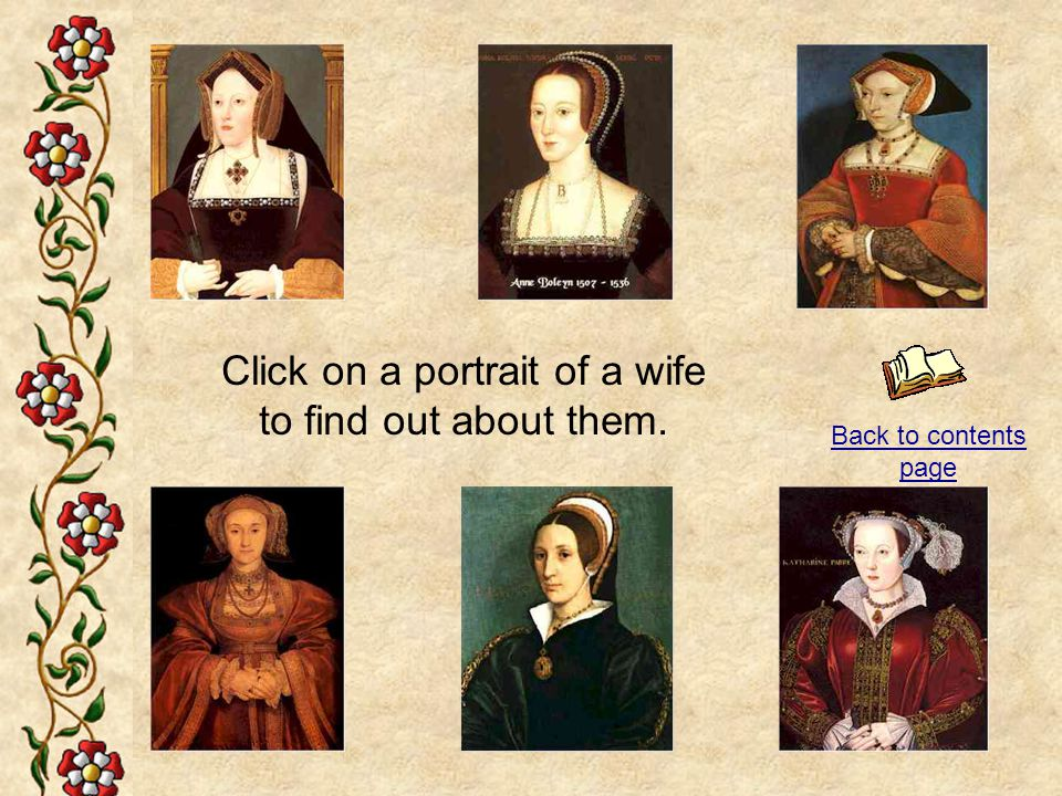 Click on a portrait of a wife to find out about them.