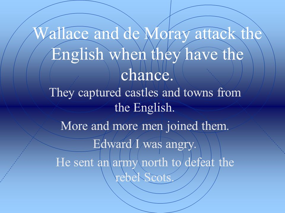 Wallace and de Moray attack the English when they have the chance.