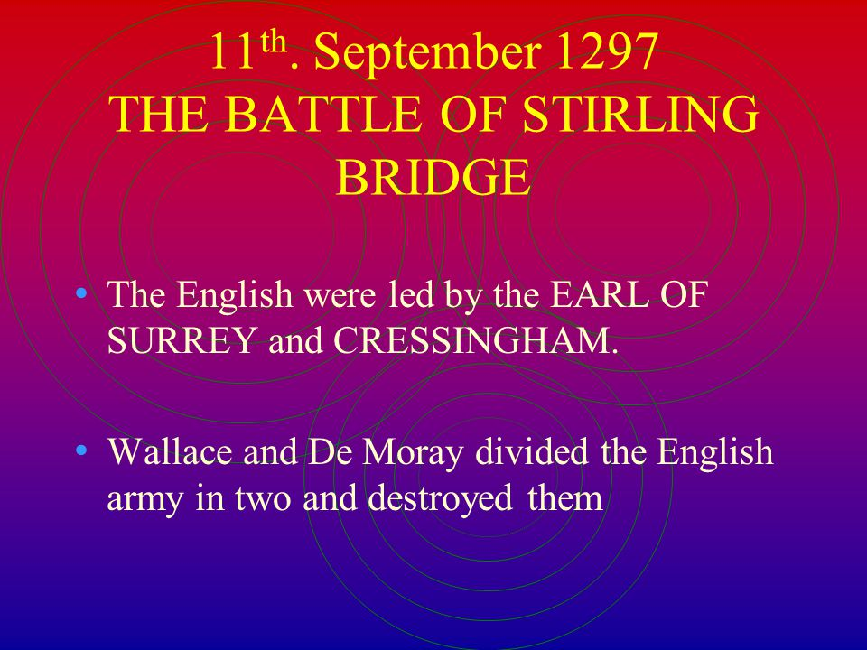 11th. September 1297 THE BATTLE OF STIRLING BRIDGE