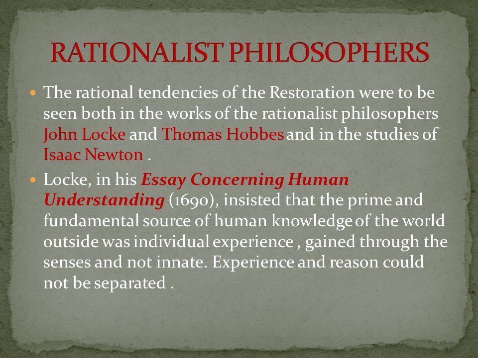 RATIONALIST PHILOSOPHERS