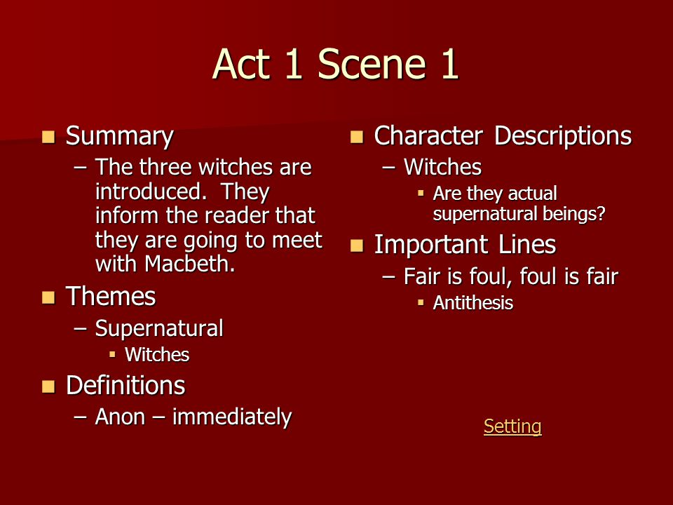 Act 1 Scene 1 Summary Themes Definitions Character Descriptions