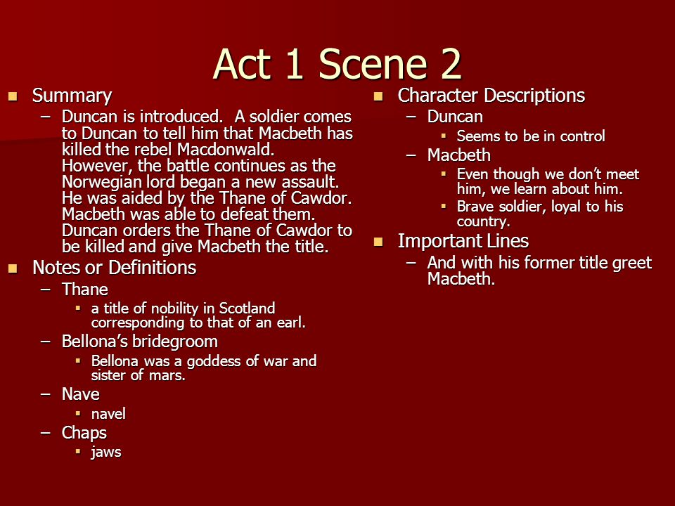 Act 1 Scene 2 Summary Notes or Definitions Character Descriptions