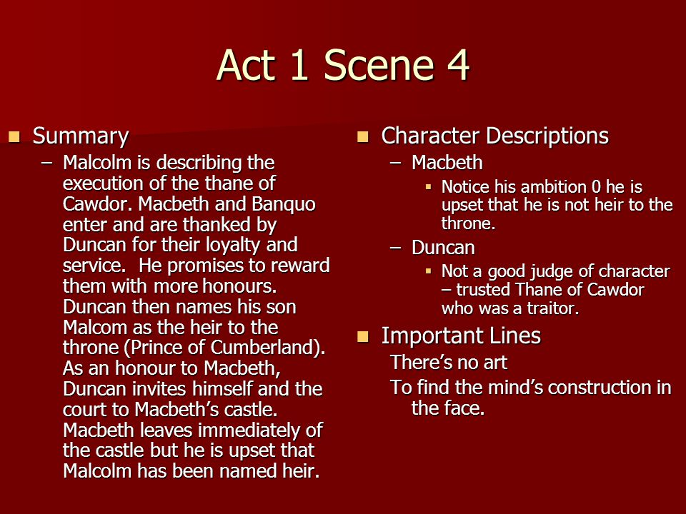 Act 1 Scene 4 Summary Character Descriptions Important Lines
