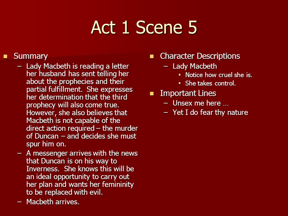 Act 1 Scene 5 Summary Character Descriptions Important Lines