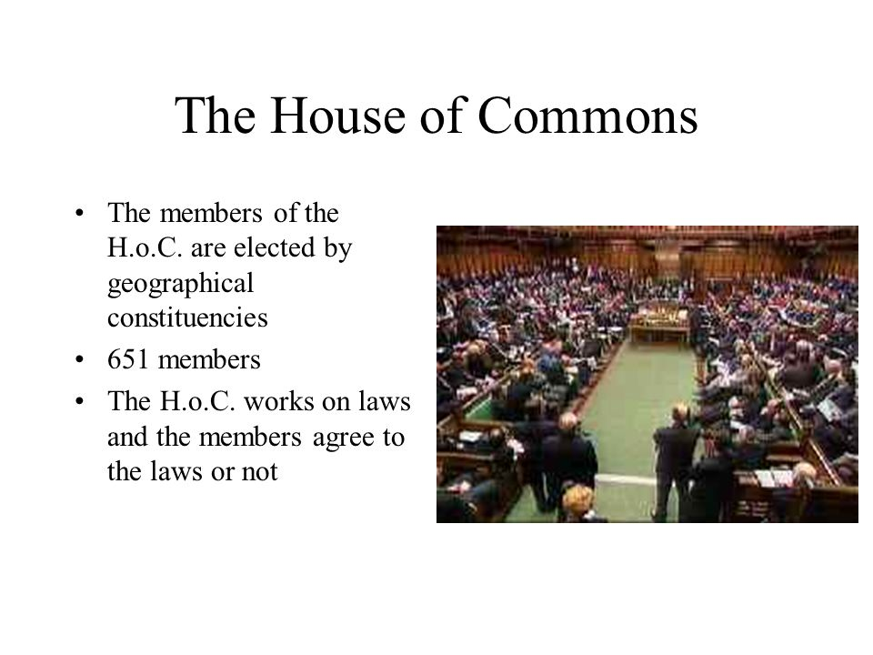 The House of Commons The members of the H.o.C. are elected by geographical constituencies. 651 members.