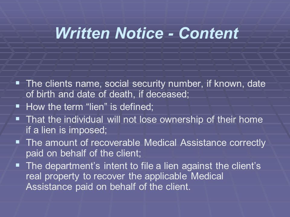 Written Notice - Content