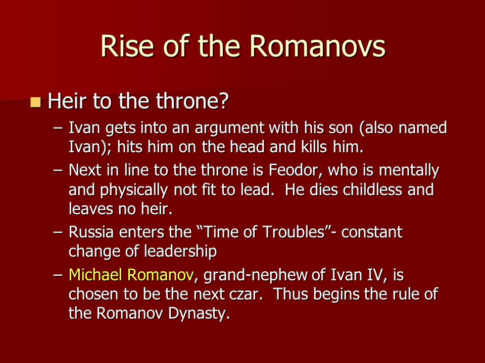 Rise of the Romanovs Heir to the throne