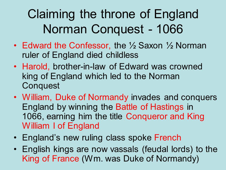 Claiming the throne of England Norman Conquest - 1066