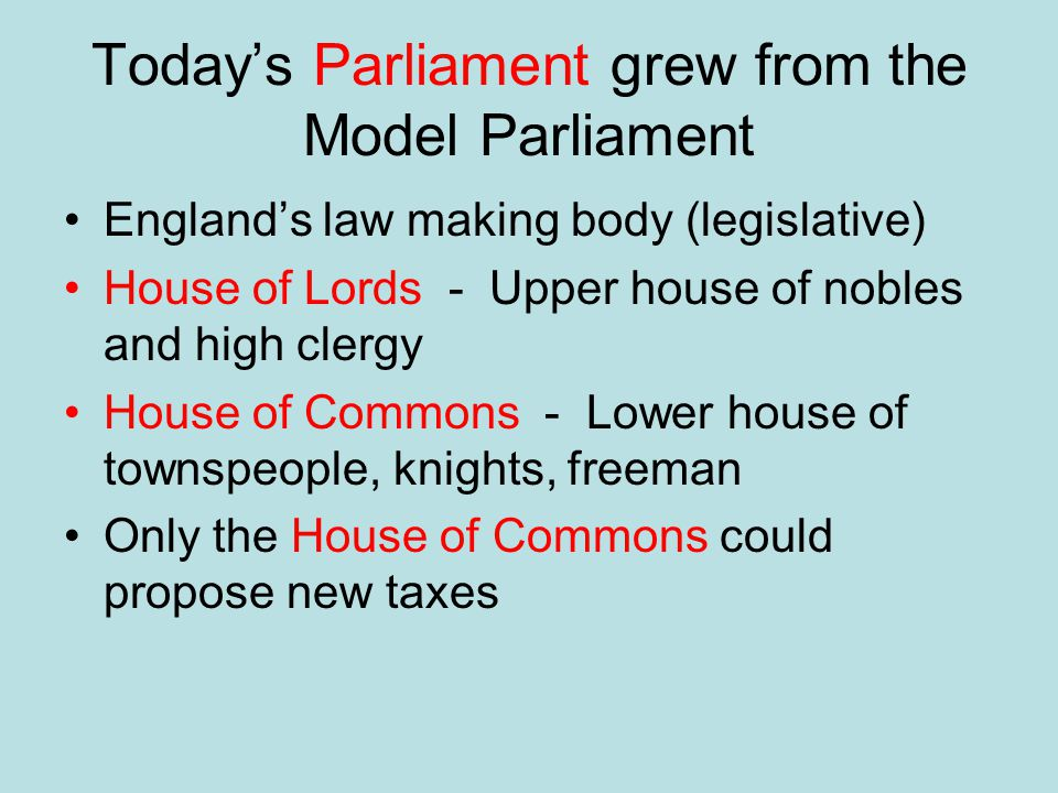 Today's Parliament grew from the Model Parliament