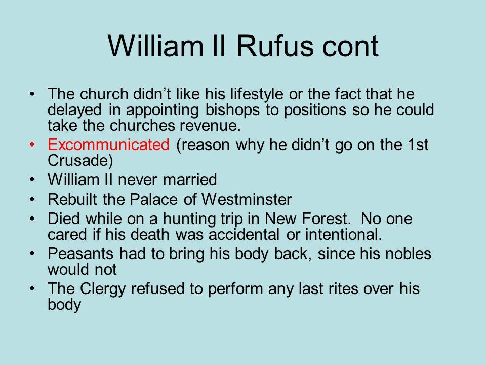 William II Rufus cont