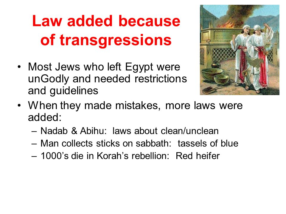 Law added because of transgressions