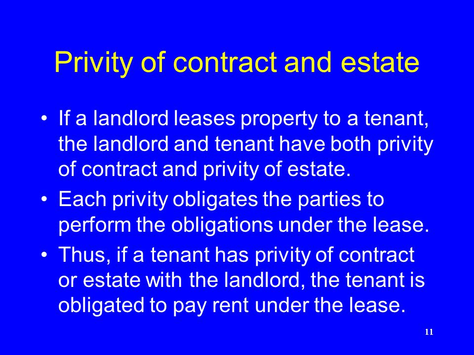 Privity of contract and estate