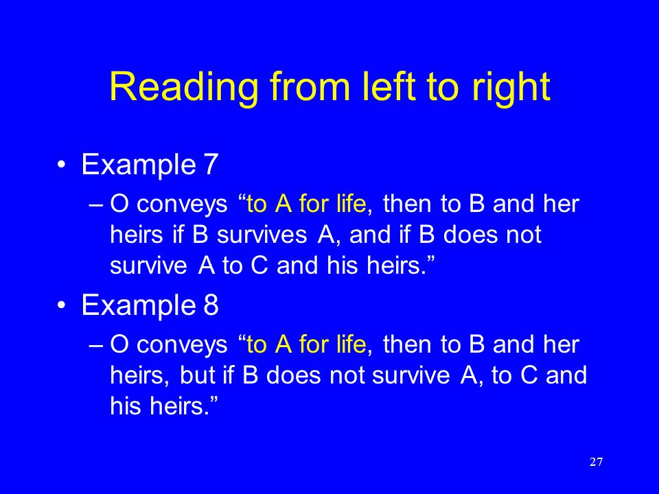Reading from left to right