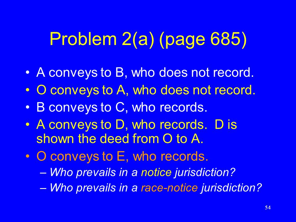 Problem 2(a) (page 685) A conveys to B, who does not record.