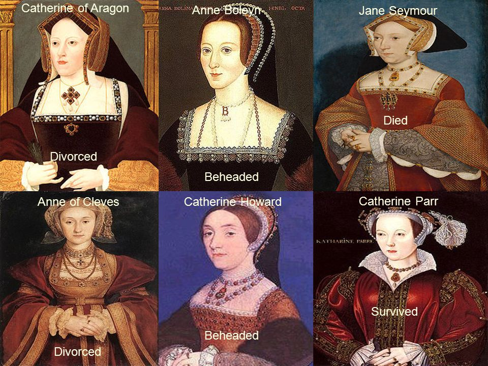 Catherine of Aragon Anne Boleyn. Jane Seymour. Died. Divorced. Beheaded. Anne of Cleves. Catherine Howard.