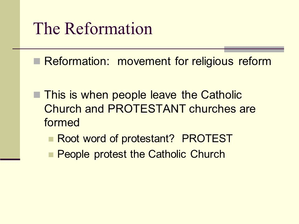 The Reformation Reformation: movement for religious reform