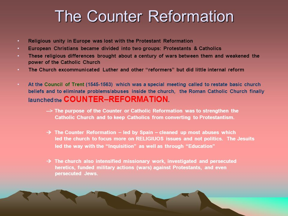 "religious ideals protestant reformation vs counter reformation In ""catholic reform,"" we will see how catholicism transformed itself during the   is a story with many narratives of competing visions of reform and ideals,   century, an era usually characterized by the protestant reformation."
