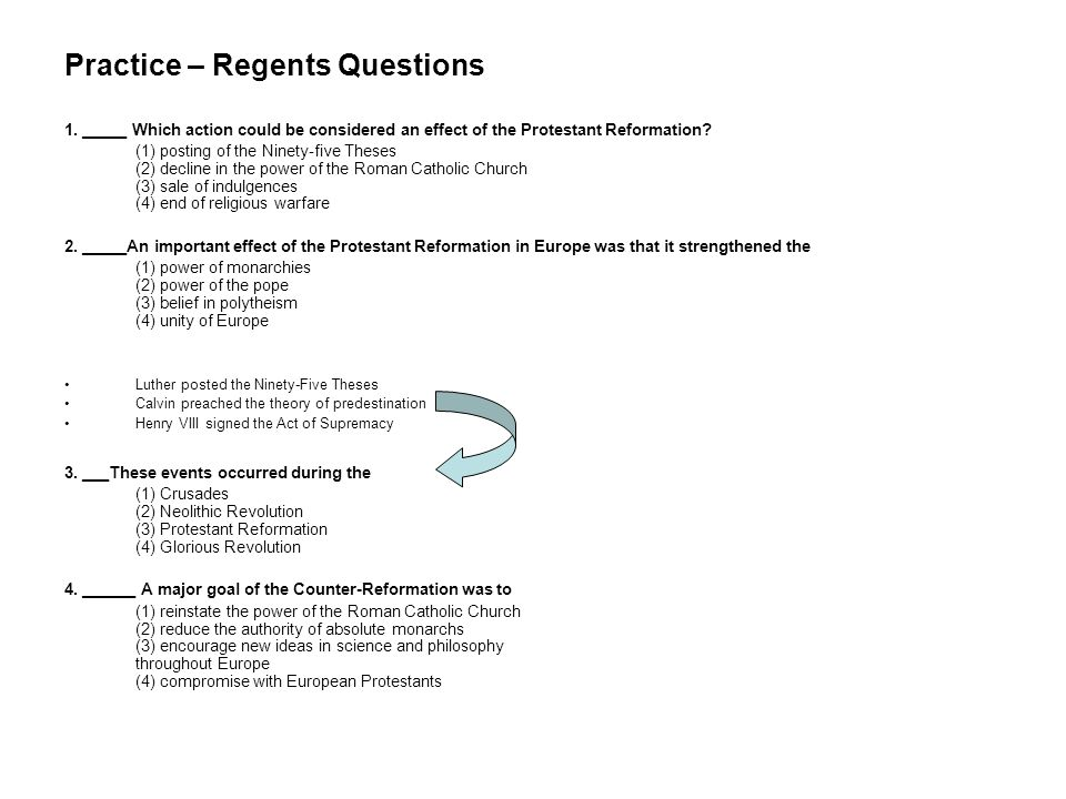 Practice – Regents Questions