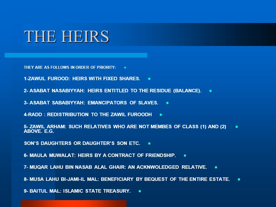 THE HEIRS 1-ZAWUL FUROOD: HEIRS WITH FIXED SHARES.