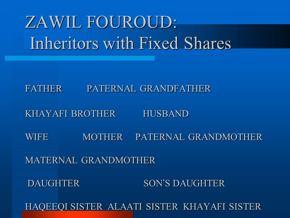 ZAWIL FOUROUD: Inheritors with Fixed Shares