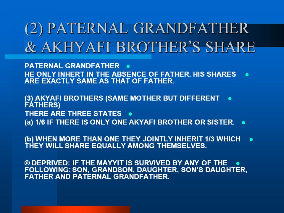 (2) PATERNAL GRANDFATHER & AKHYAFI BROTHER'S SHARE