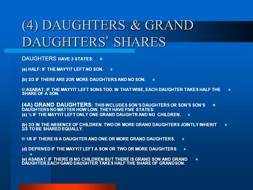 (4) DAUGHTERS & GRAND DAUGHTERS' SHARES
