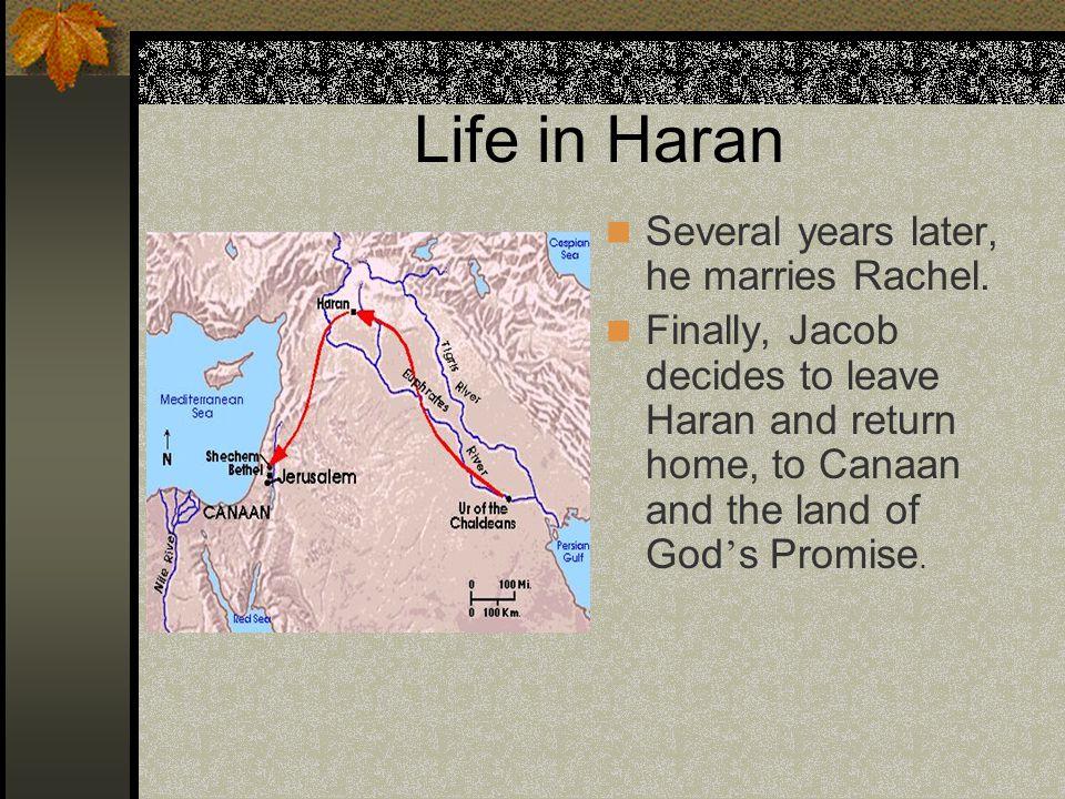 Life in Haran Several years later, he marries Rachel.