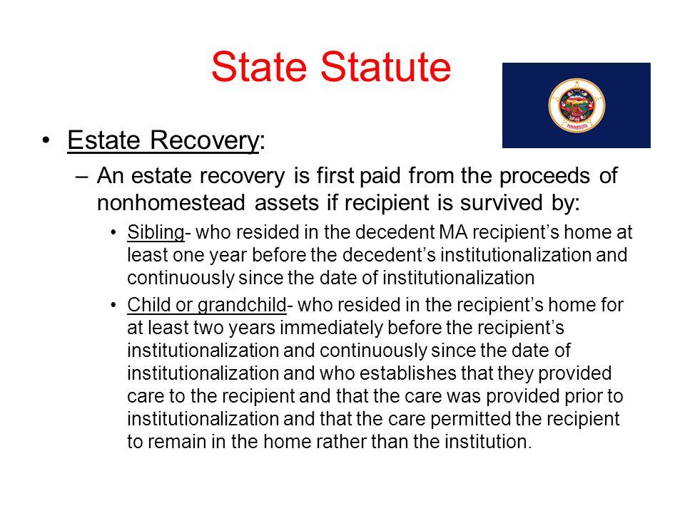 State Statute Estate Recovery: