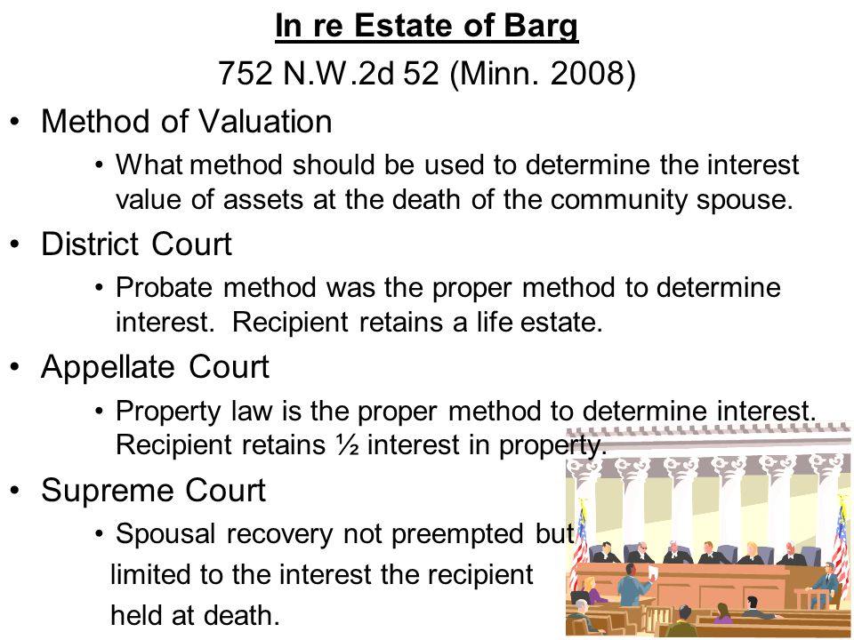 In re Estate of Barg 752 N.W.2d 52 (Minn. 2008) Method of Valuation