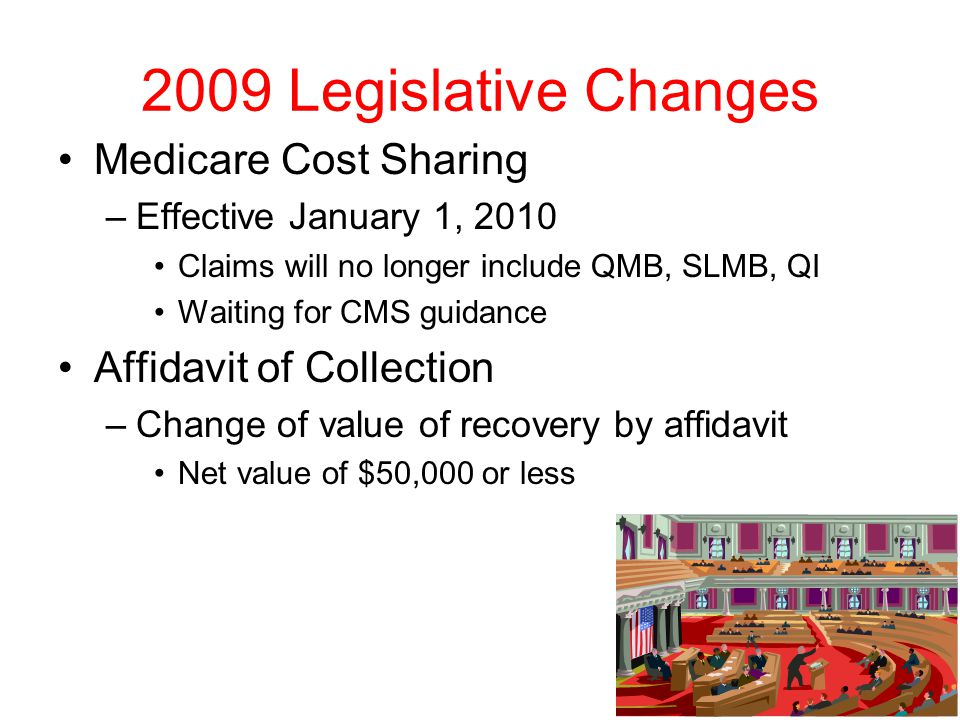2009 Legislative Changes Medicare Cost Sharing Affidavit of Collection