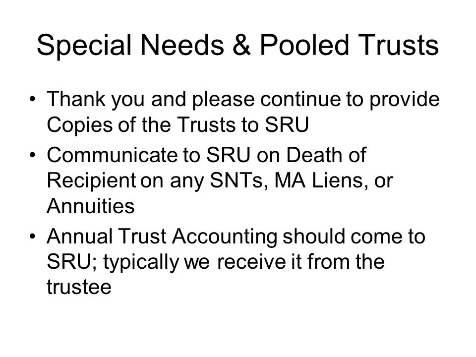 Special Needs & Pooled Trusts