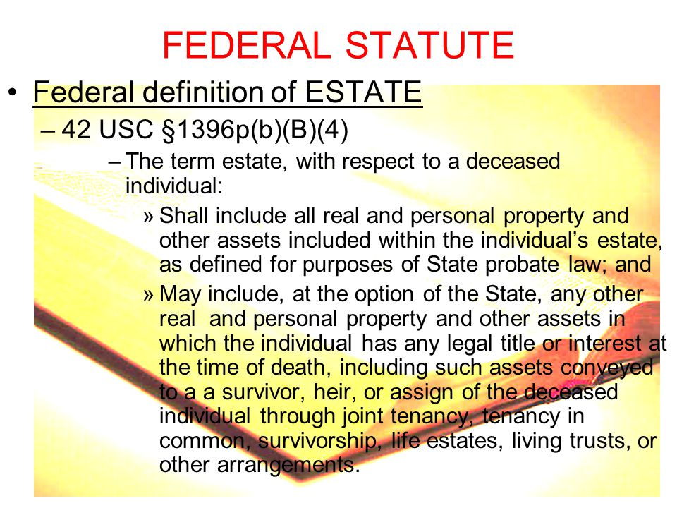 FEDERAL STATUTE Federal definition of ESTATE 42 USC §1396p(b)(B)(4)