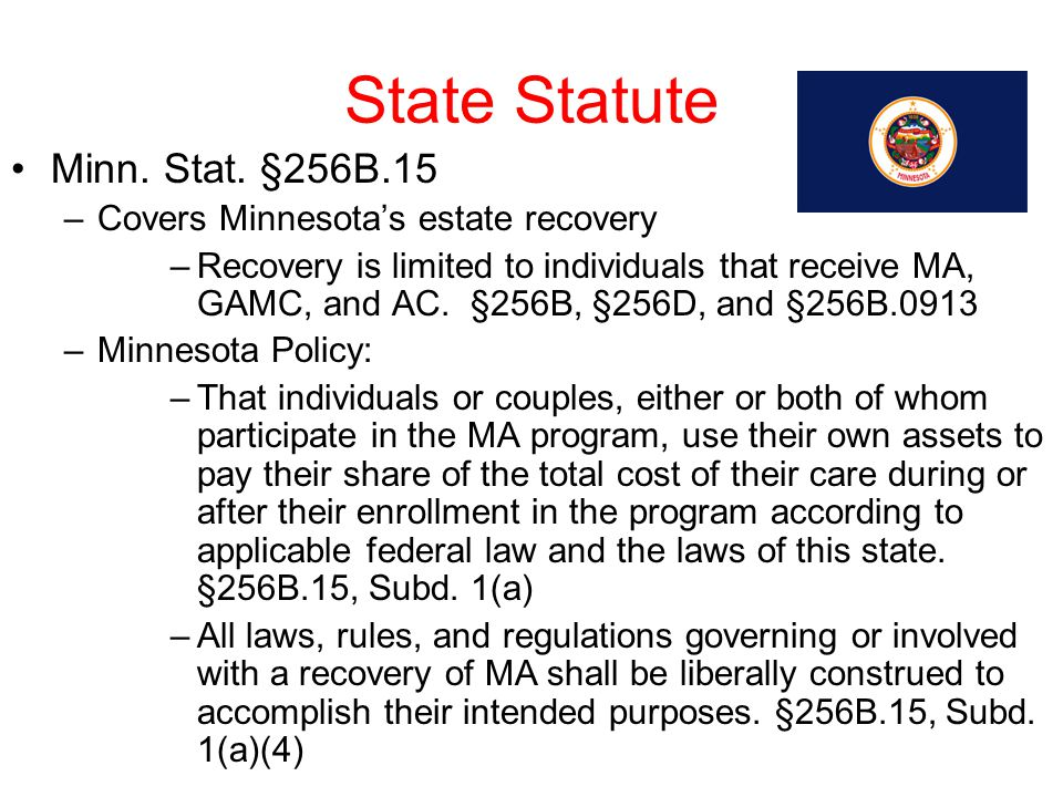 State Statute Minn. Stat. §256B.15 Covers Minnesota's estate recovery