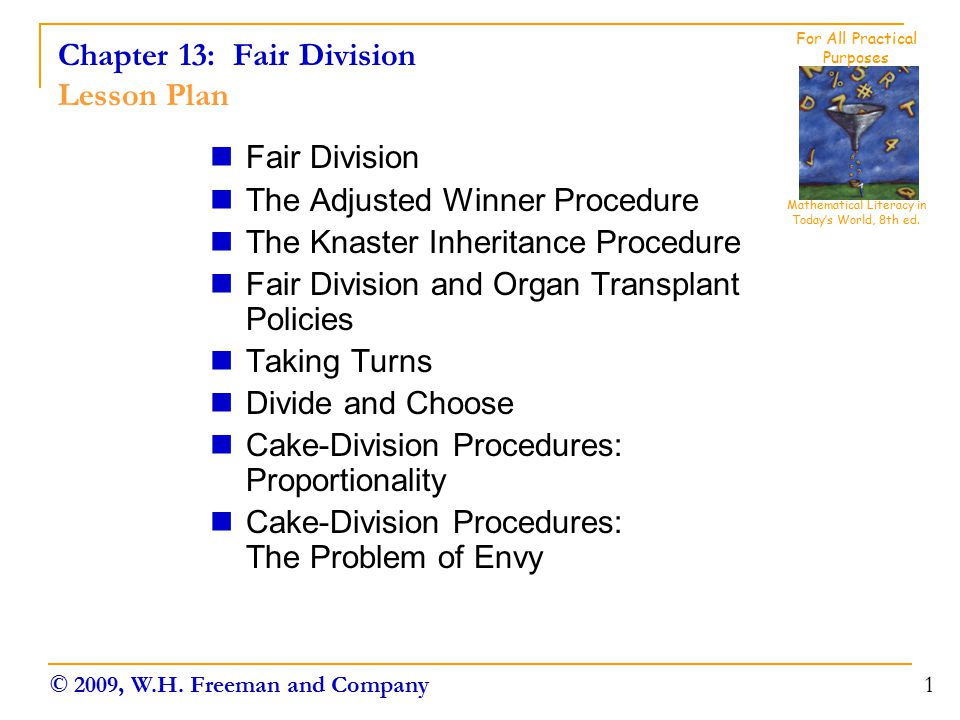 Chapter 13: Fair Division Lesson Plan