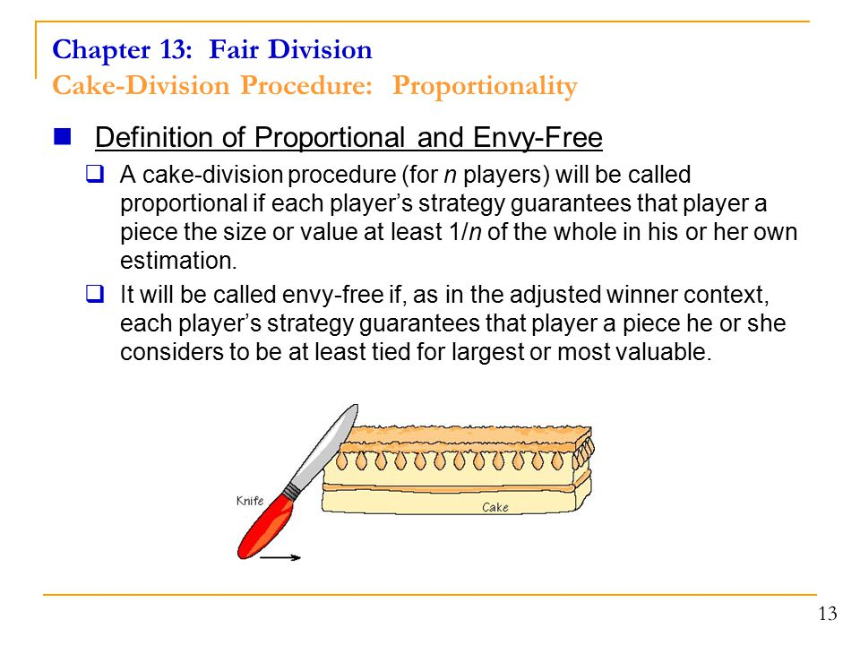 Chapter 13: Fair Division Cake-Division Procedure: Proportionality