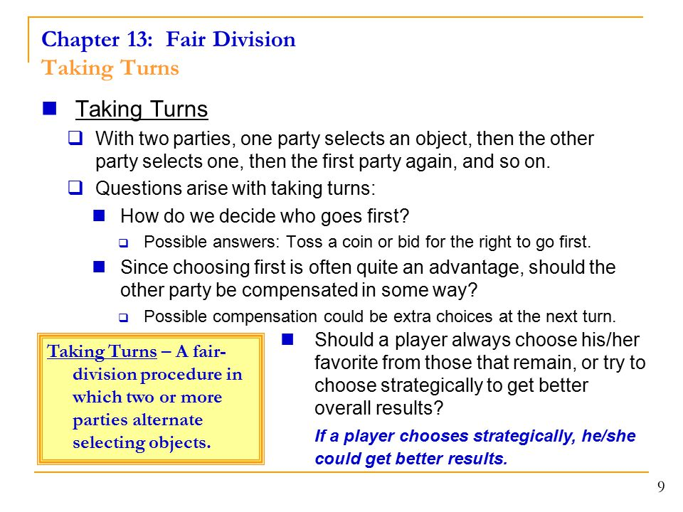 Chapter 13: Fair Division Taking Turns
