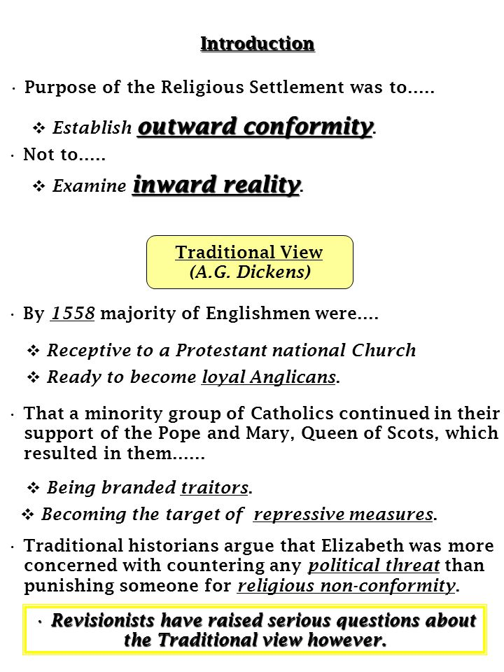 Introduction Purpose of the Religious Settlement was to….. Establish outward conformity. Not to…..