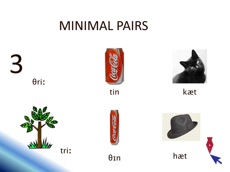 MINIMAL PAIRS 3 θriː tin kæt triː hæt θɪn