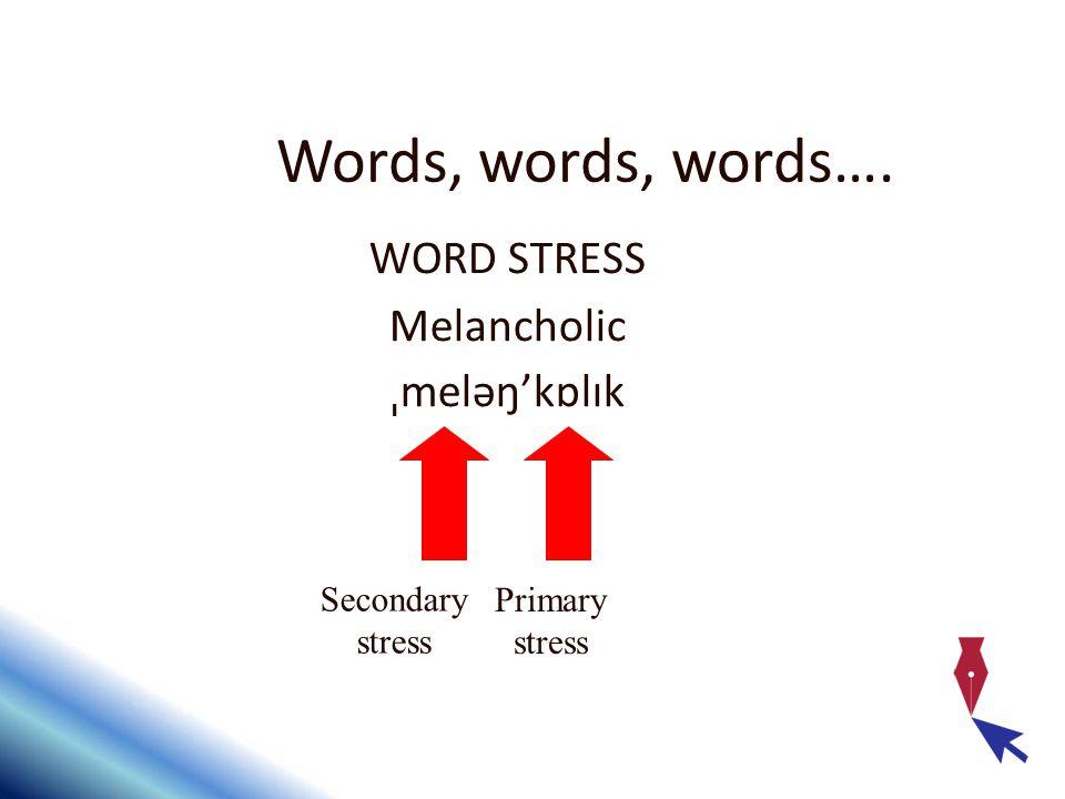 Words, words, words…. WORD STRESS Melancholic ˌmeləŋ'kɒlɪk