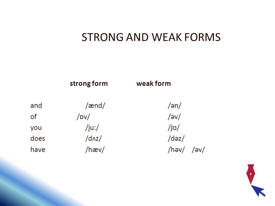 STRONG AND WEAK FORMS strong form weak form and /ænd/ /ən/