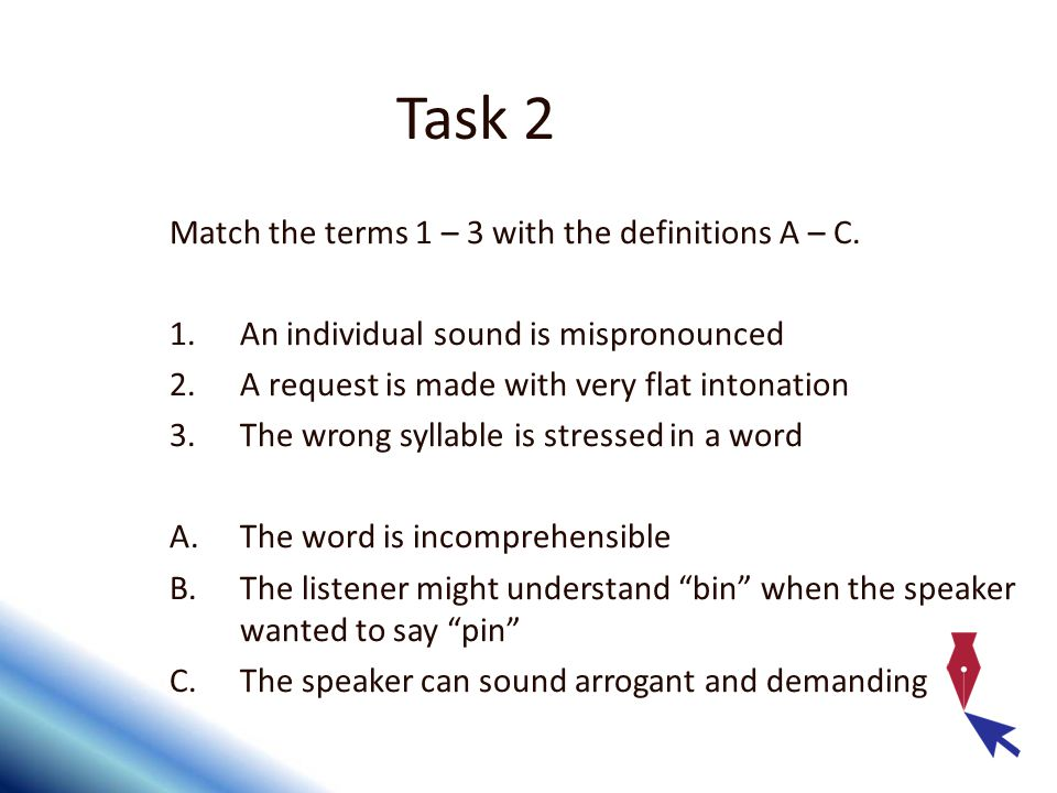 Task 2 Match the terms 1 – 3 with the definitions A – C.