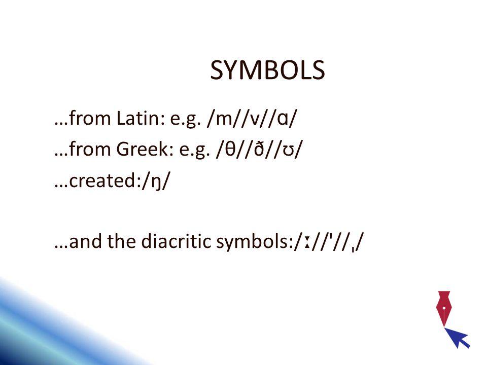 SYMBOLS …from Latin: e.g. /m//v//ɑ/ …from Greek: e.g. /θ//ð//ʊ/