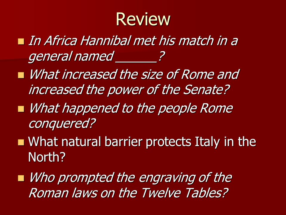 Review In Africa Hannibal met his match in a general named ______