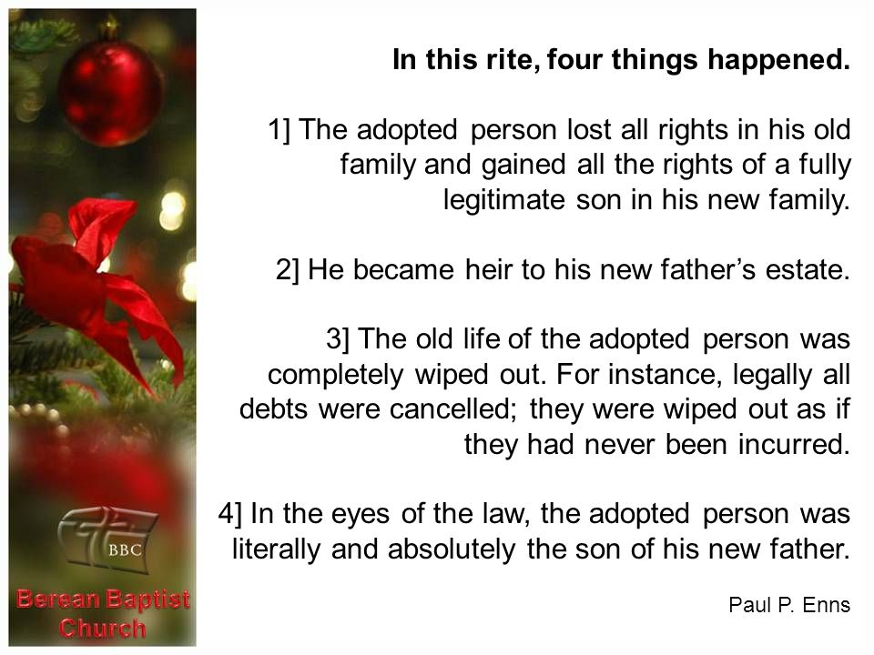 In this rite, four things happened.